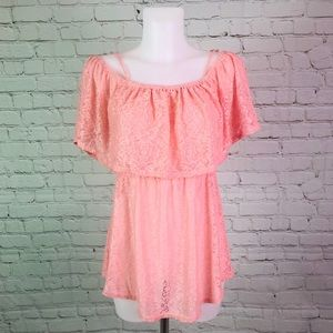 Pink Lace Cold Shoulder Soren Lily Maternity Top L